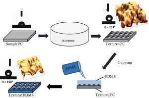 solvent-induced-crystallization-of-a-polycarbonate-surface-and-texture-copying-by-polydimethylsiloxane-for-improved-surface-hydrophobicity